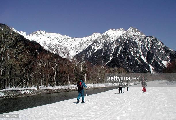 People Enjoy Cross Country Skiing At Kamikochi on December 7 2005 in Matsumoto Nagano Japan