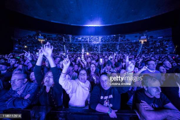 People enjoy during Amaral performs on stage at Coliseum A Coruña, on November 2, 2019 in A Coruna, Spain.