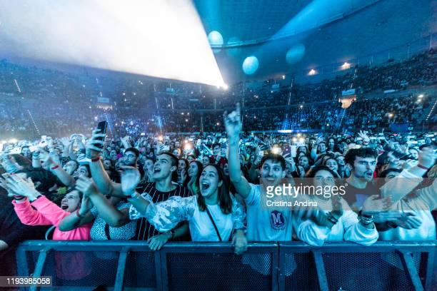 People enjoy during Melendi´s concert at Coliseum de A Coruña on December 14 2019 in A Coruna Spain