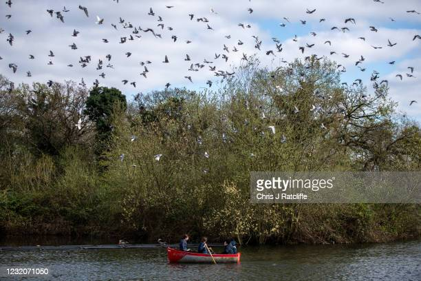 People enjoy Good Friday bank holiday on a boating lake in Finsbury Park on April 2, 2021 in London, England. As lockdown restrictions are eased...