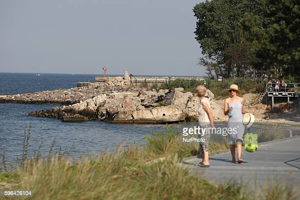 People enjoy hot and sunny weather in Hel on the last weekend of the summer vacations in Poland on August 27 2016 Hel is a town in Puck County...