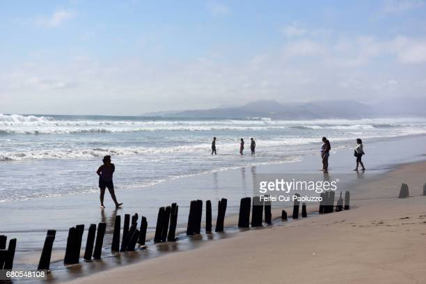 People enjoy on the beach oa La Serena in Coquimbo Region, Northern Chile