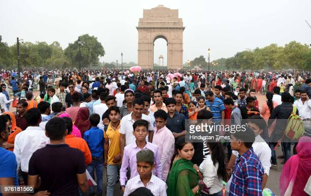 People enjoy on the occasion of EidUlFitr festival at India Gate on June 16 2018 in New Delhi India The auspicious occasion of EidUlFitr is a...