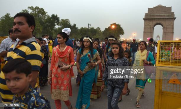 people enjoy at india gate on the occasion of eid ul fitr festival