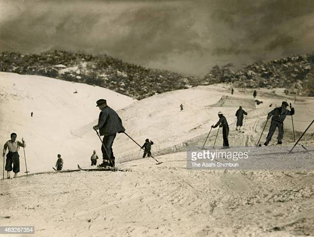 People enjoy skiing at Mount Rokko circa January 1937 in Kobe Hyogo Japan