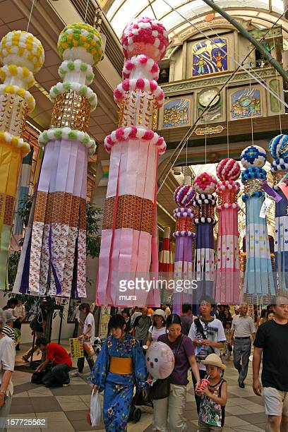 people enjoy tanabata festival in sendai, miyagi - tanabata festival stock pictures, royalty-free photos & images