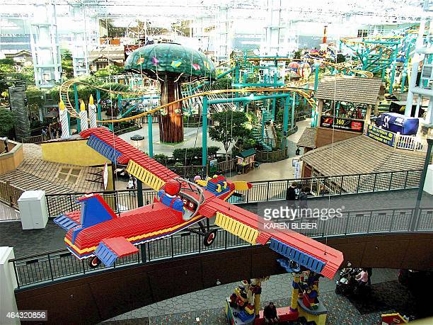 People enjoy the amusement park at the Mall of America the largest indoor amusement park in the US 02 February 2006 in Bloomington Minnesota The...