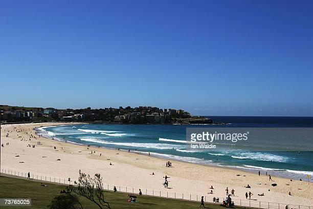 People enjoy the beach at Bondi Beach despite the beach's closure following a tsunami warning on April 2 2007 in Sydney Australia All of New South...