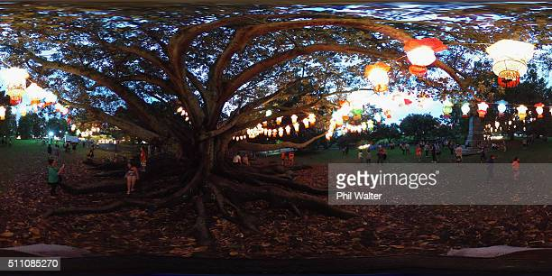 People enjoy the Chinese lanterns at the Auckland Lantern Festival in the Auckland Domain on February 18 2016 in Auckland New Zealand The four day...
