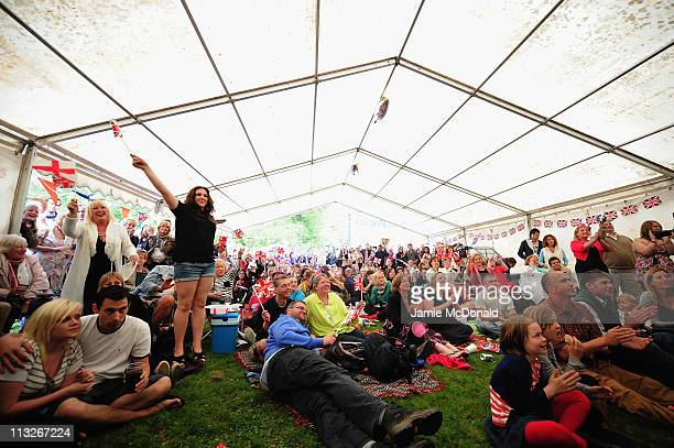 People enjoy the day in the Village of Bucklebury on April 29, 2011 in Bucklebury, United Kingdom.The marriage of Prince William, the second in line...