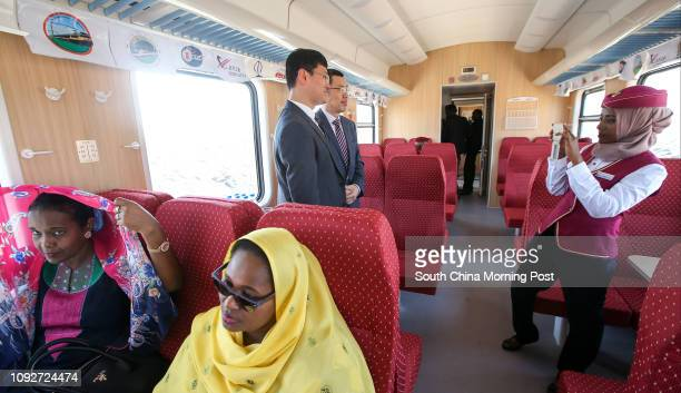People enjoy the first departure of the Addis Ababa–Djibouti Railway at Gare De Nagad Station in Djibouti. The railway was built by the China...