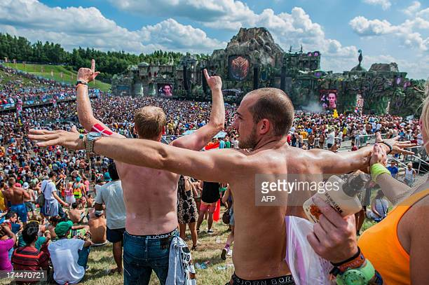 People enjoy the International Tomorrowland electronic music festival on July 26 in Boom. This year's Tomorrowland takes place in Boom from July 26...