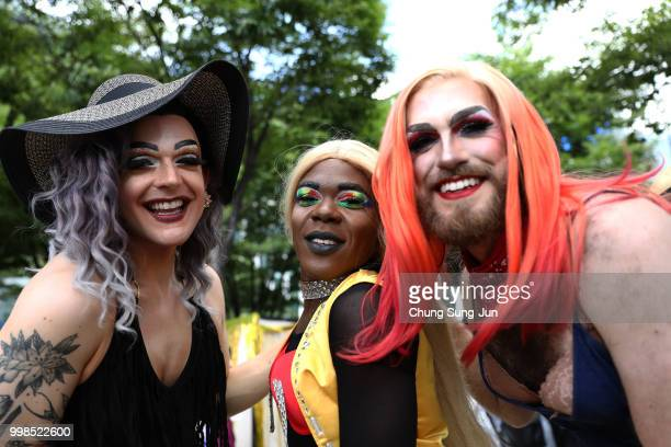 People enjoy the Korea Queer Culture Festival 2018 in front of City hall on July 14 2018 in Seoul South Korea The annual festival promoting the LGBT...