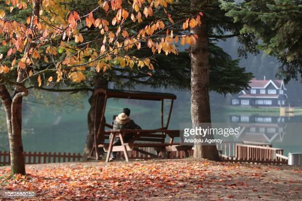 People enjoy the lake sight behind fallen yelloworange leaves at Golcuk Nature Park during autumn season in Bolu province of Turkey on October 19...