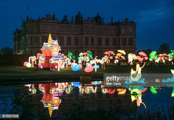 People enjoy the spectacle at the opening night of annual Festival of Light at the Elizabethan Longleat House on November 3 2017 in Frome England Now...