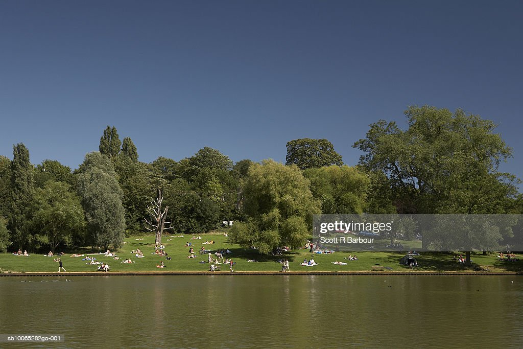 People enjoy the sunshine In Hampstead Heath during the summer in London, England. : Foto stock