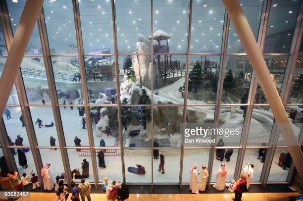 People enjoy the view of 'Ski Dubai' a huge indoor Snow park on December 3 2009 in Dubai United Arab Emirates Stock markets in Dubai and Abu Dhabi...