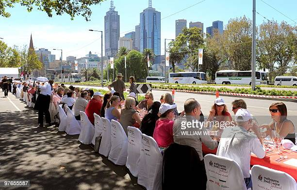 People enjoy their meals at an event named 'World's Longest Lunch' at this year's Melbourne Food and Wine Festival in Melbourne on March 12 2010 A...