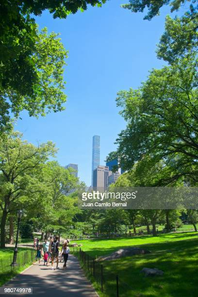 People enjoying a sunny Summer da y at Central Park in Manhattan, New York