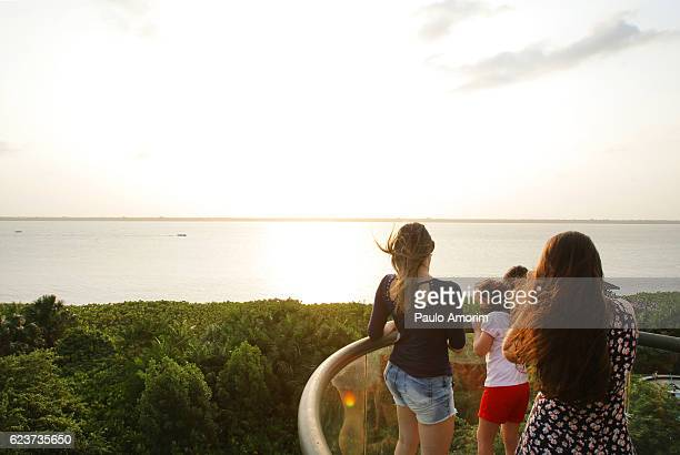 People Enjoying Aerial View in Amazon  Rainforest