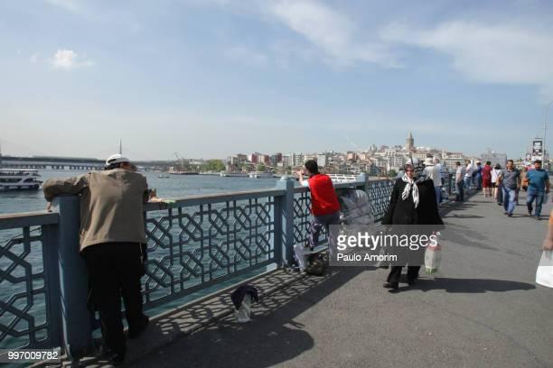People Enjoying at Galata Bridge in Istanbul