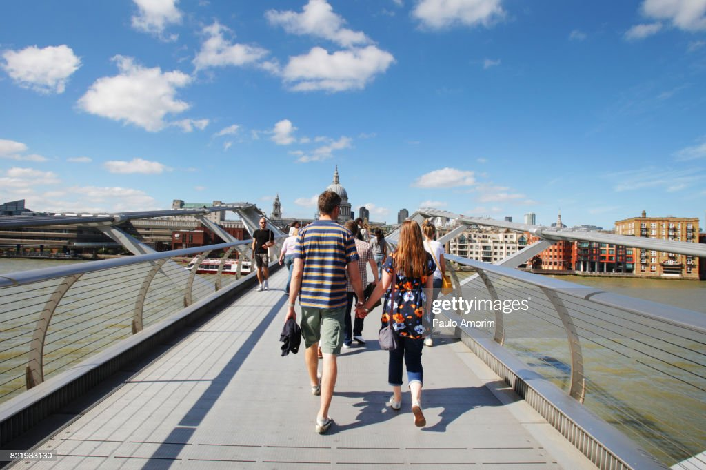 People Enjoying at Millenium bridge during sunny day in London : Stock Photo