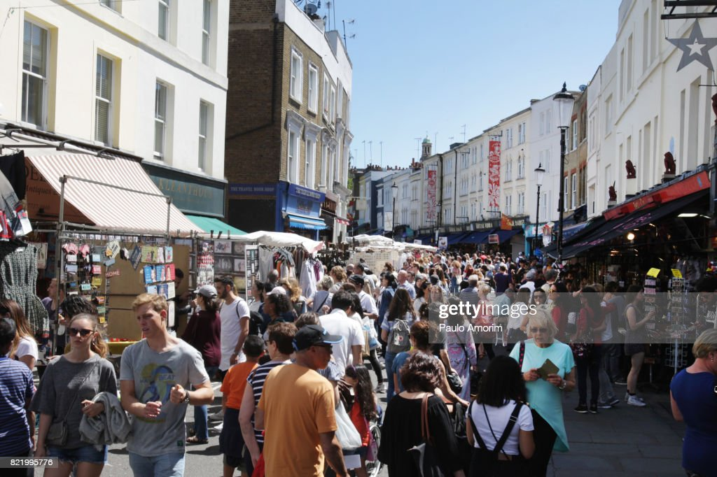 People Enjoying at Portobello Market in London : Stock Photo