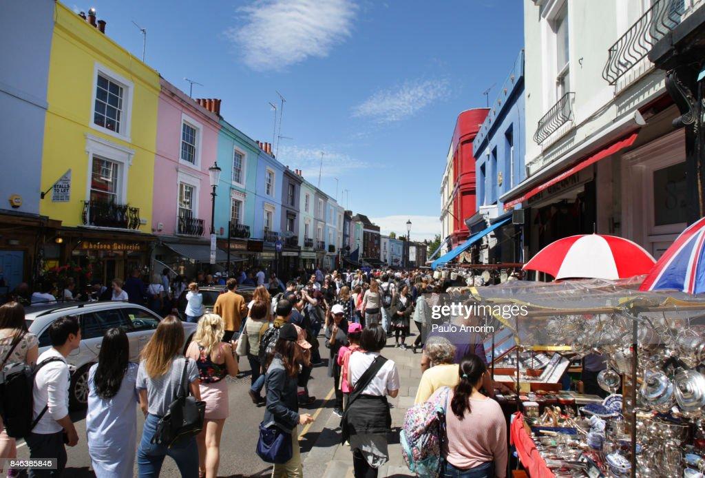 People Enjoying At Portobello Market In London Stock Photo | Getty ...