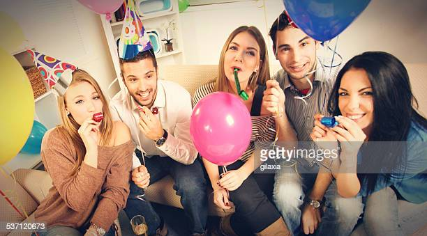 People enjoying birthday party.