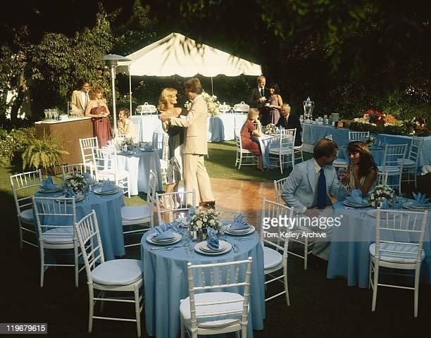 People enjoying buffet party