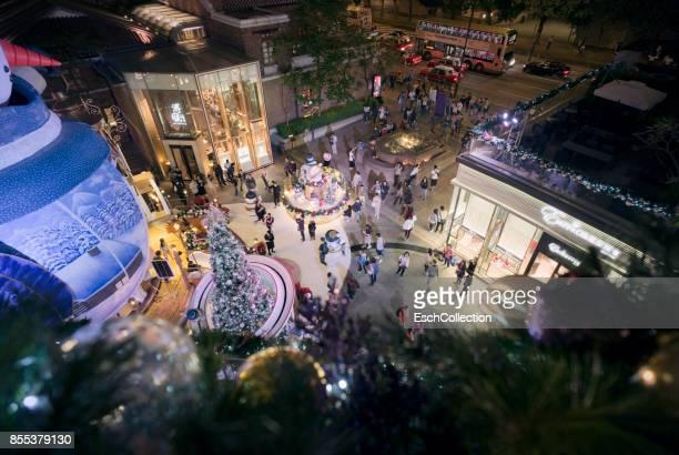 People enjoying Christmas decoration in Hong Kong