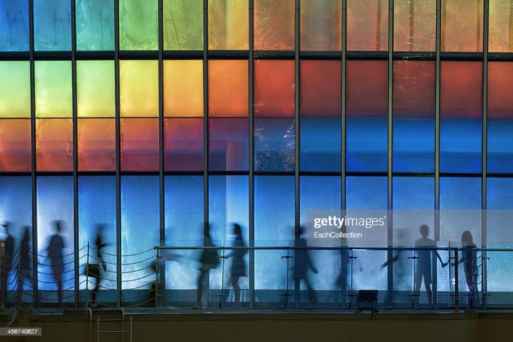 People enjoying LED illuminated wall in Seoul : Stock Photo