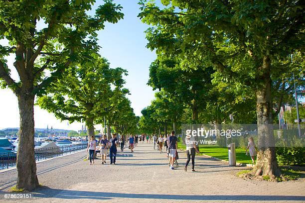 People enjoying seaside view, Lake Zurich