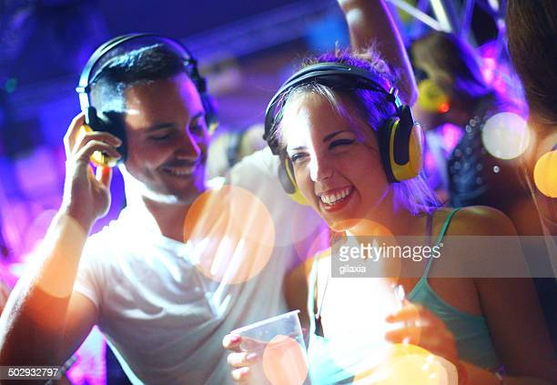 people enjoying silent party. - dancing stockfoto's en -beelden