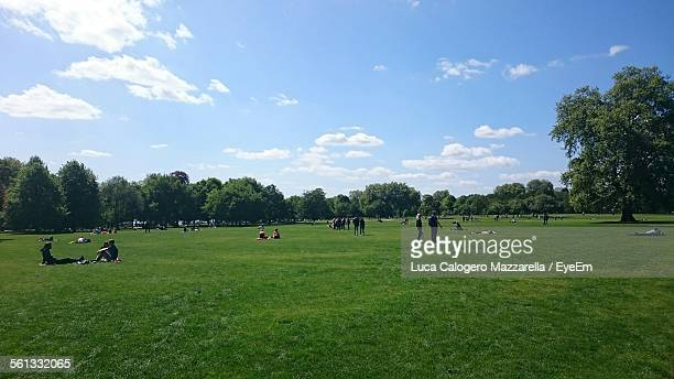 people enjoying summer day in hyde park - hyde park london stock photos and pictures