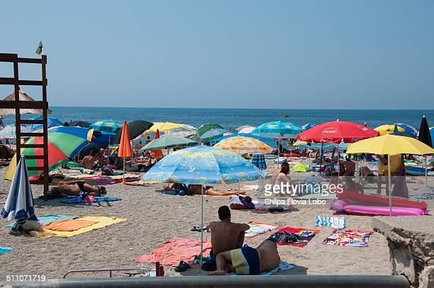 People enjoying summer on the beach in Bar Montenegro