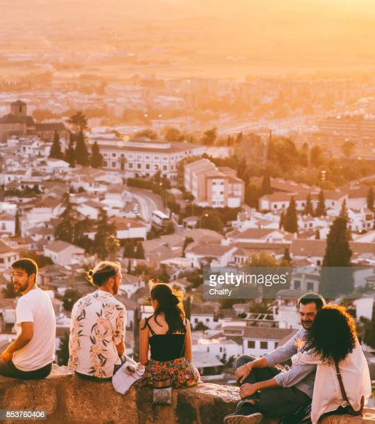 People Enjoying Sunset in Granada, Spain