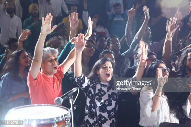 People enjoying the performance of Multigenre band Astitva during the Hindustan Times Friday Jam Season 6 at Cyberhub on November 8 2019 in Gurugram...