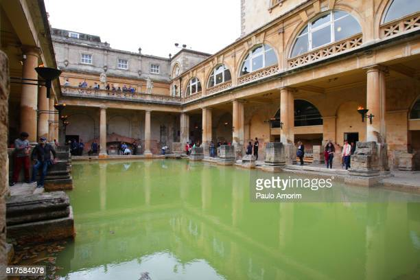 People enjoying the view at The Roman Baths in England