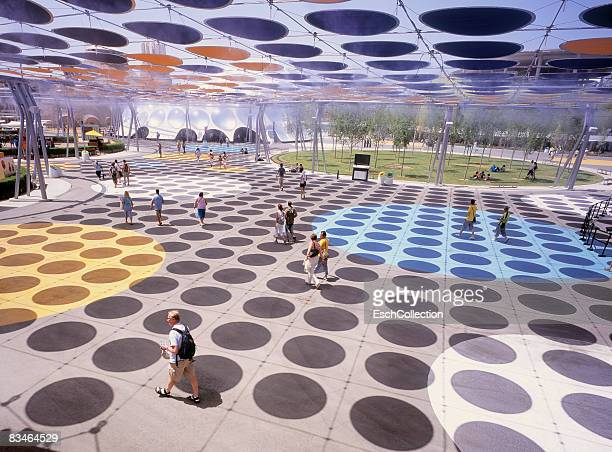 people enjoying the water expo in zaragoza, spain. - futurism stock photos and pictures
