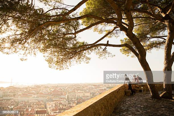 People enjoying view of city from Castelo de Sao Jorge, Lisbon, Portugal