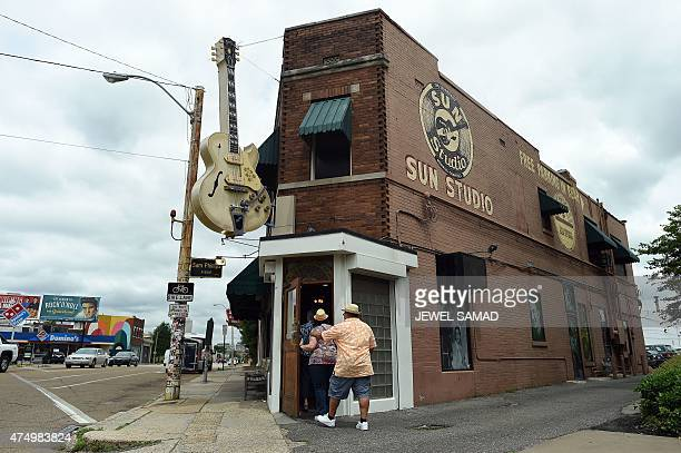 People enter Sun Studio for a visit in Memphis Tennessee on May 28 2015 Sun Studio a recording studio where rock and roll country music and...