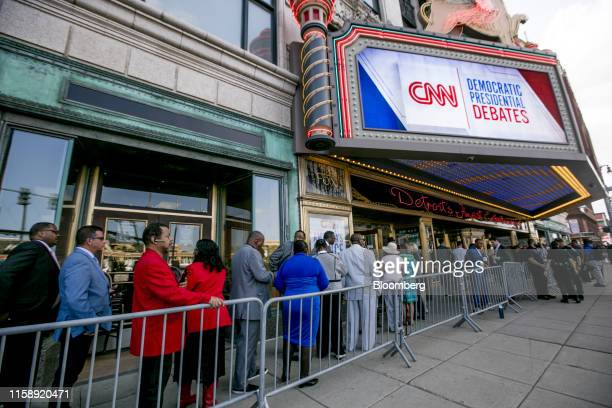People enter the Fox Theater ahead of the Democratic presidential candidate debate in Detroit, Michigan, U.S., on Wednesday, July 31, 2019. Hillary...