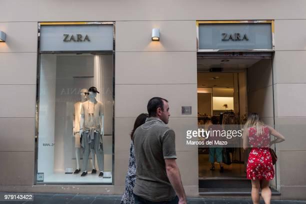 People entering a Zara shop an Inditex brand led by Amancio Ortega Index has announced that it will advance for two days its summer sales which...