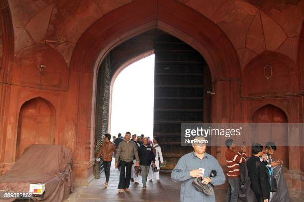 People entering Jamia Masjid on 10th December 2017 in Delhi India