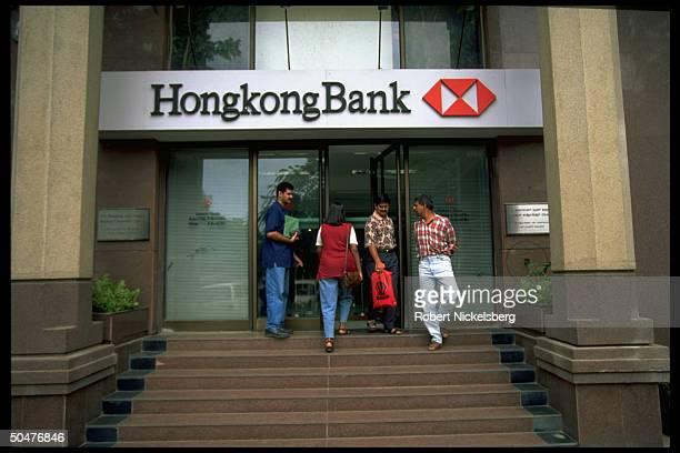People entering leaving Hong Kong Shanghai bank