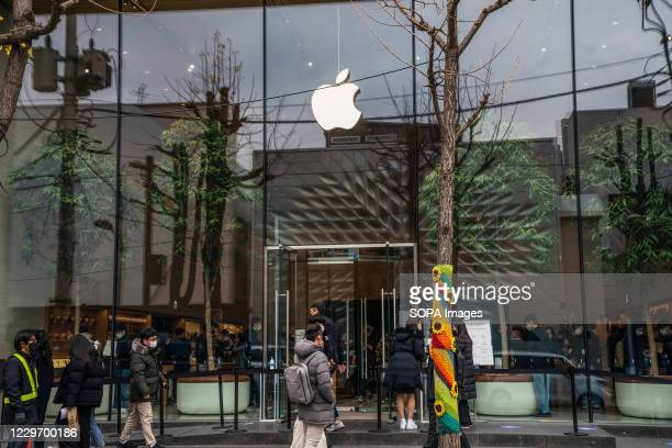 People entering the Apple store in Seoul, following the release of iPhone12 mini and iPhone12 Pro Max.