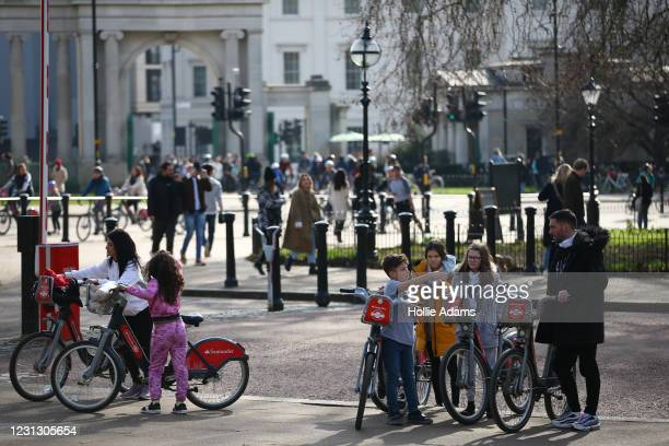 People exercise at Hyde Park on February 21, 2021 in London, England. The British government is expected to announce tomorrow its plans for easing...