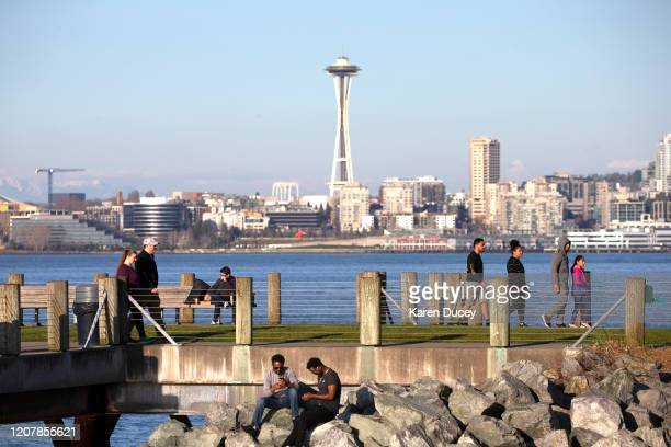 People exercise social distancing at a park in West Seattle on March 20 2020 in Seattle Washington Washington Governor Jay Inslee strongly encourages...