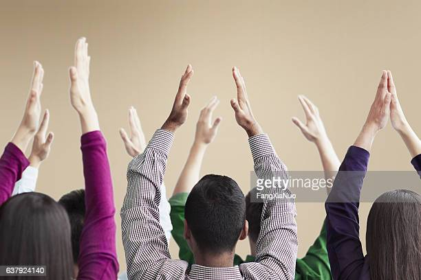 People exercising in group conference meeting